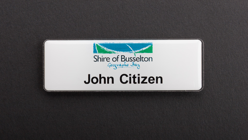 A council name badge