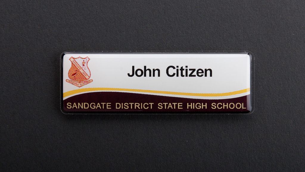 Personalised school name tag white yellow brown
