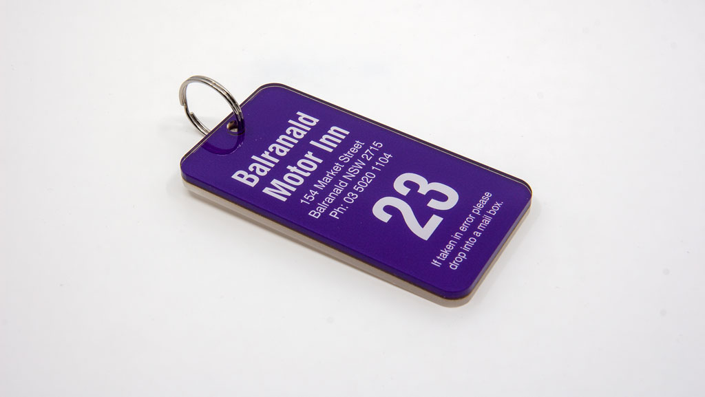 A numbered key tag for motels.