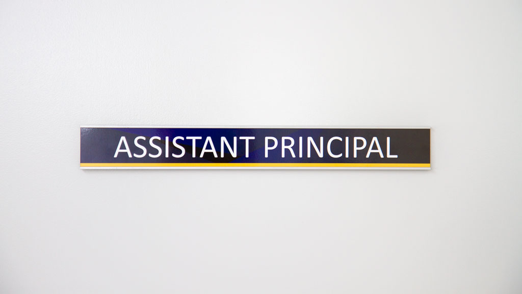 "A custom made door sign for, ""Assistant Principal"" in custom colours to match your School's branding."