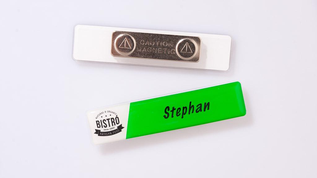 Bistro name tag.