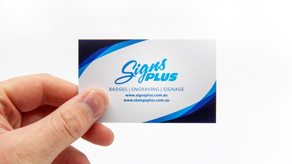 Custom printed business card from Signs Plus.