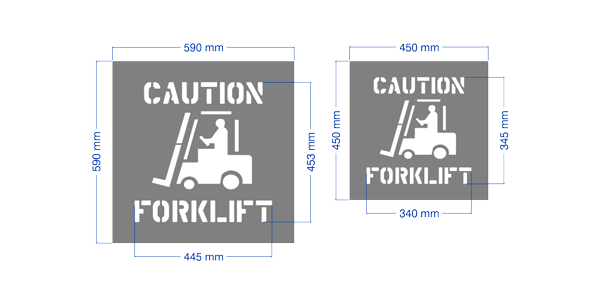 """Caution Forklift"" stencil."