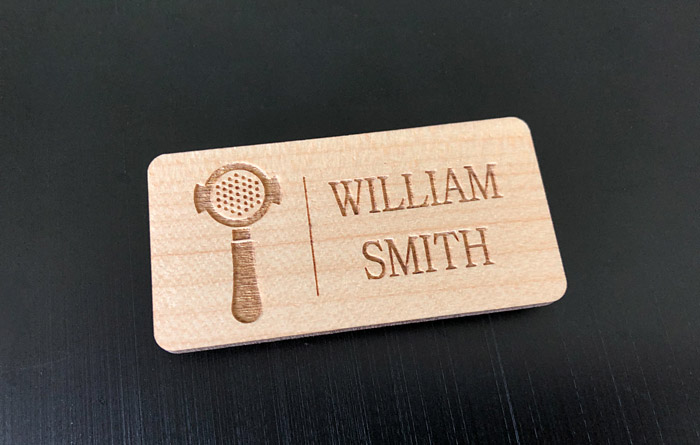 Custom wooden name badge.