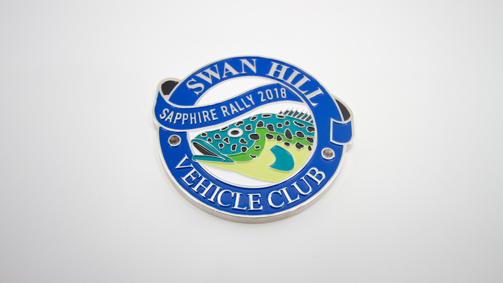 Custom classic car club badge.