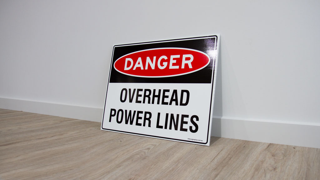 A custom made corflute safety sign. These are a great temporary signage solutions.