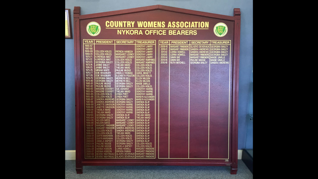 Traditional wooden honour board, that has been updated.