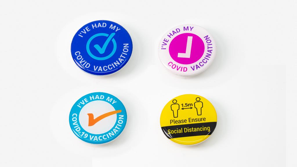 Assortment Covid-19 Safe Face Mask Wearing Exempt Coronavirus Vaccine Pandemic Social Distance Custom Badges 40mm