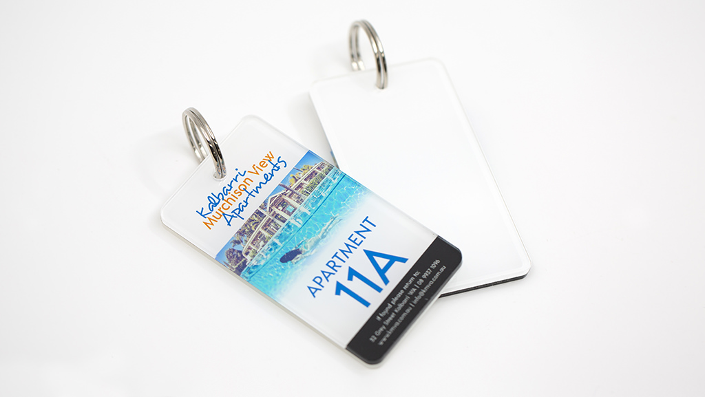 Custom manufactured key tag in Australia for luxury apartments.