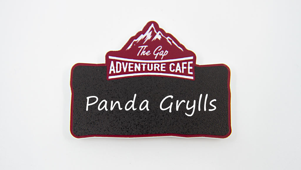 Blank reusable name badge for cafes and restaurants.