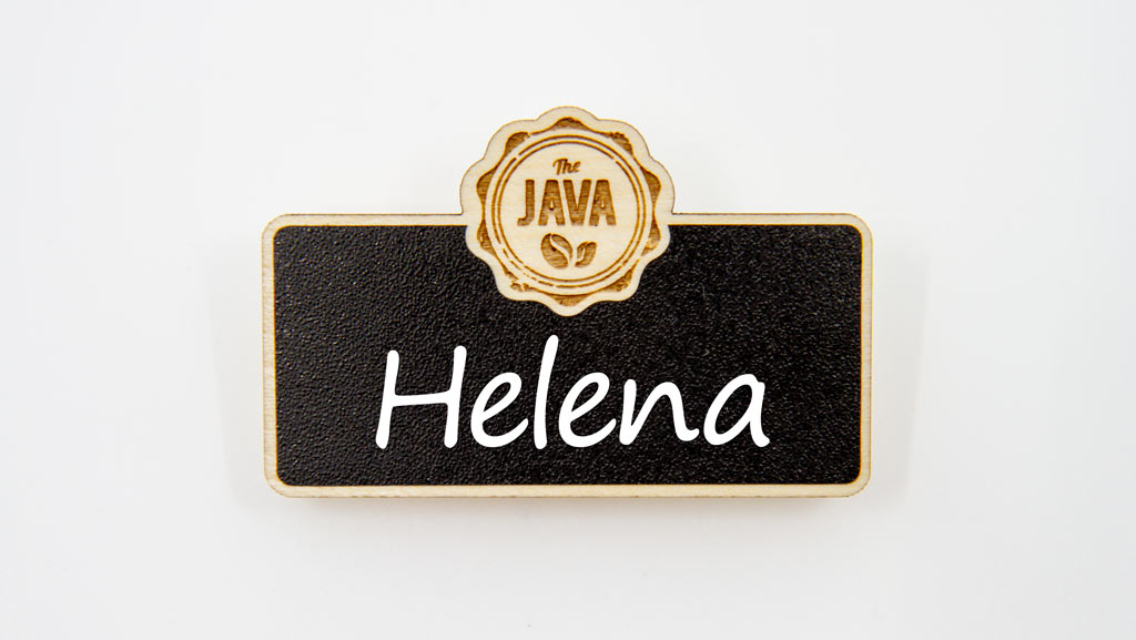 Blank chalkboard reusable name badge.