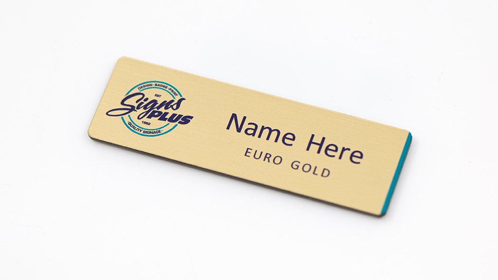 A Euro Gold personalised name badge with your logo.