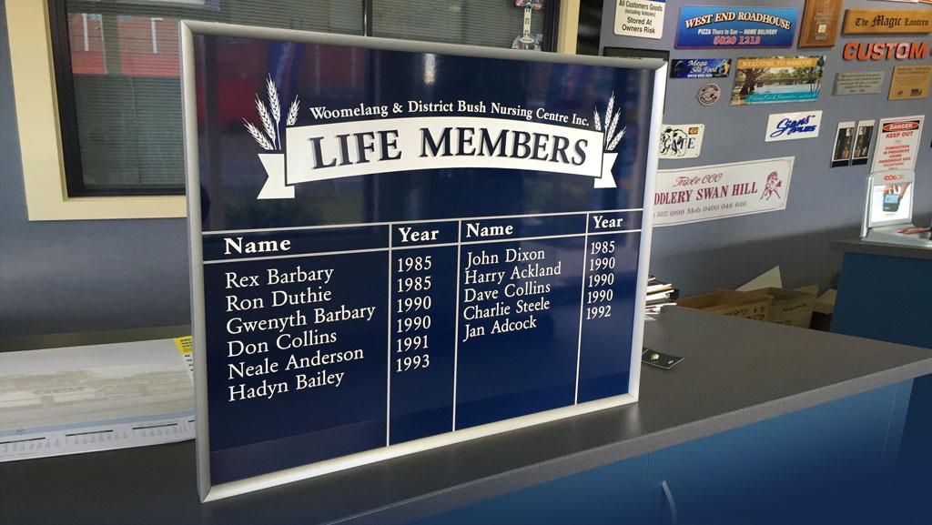 Life Member honour board.