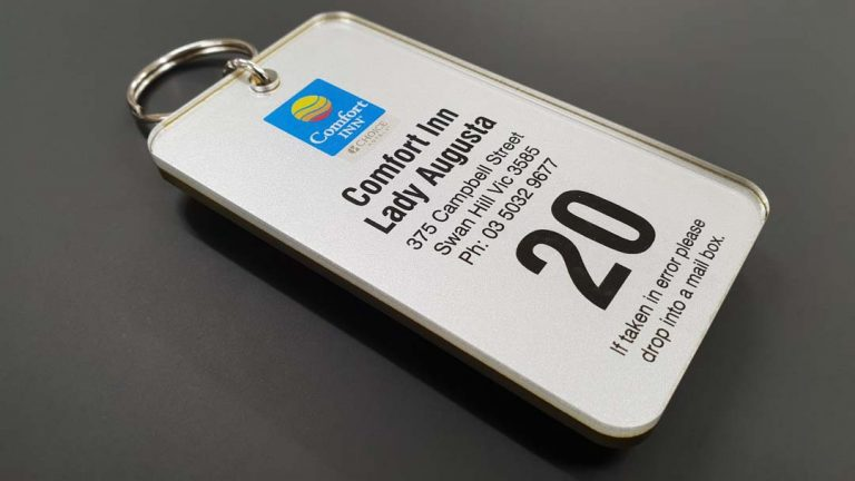 custom hotel key tag for comfort inn