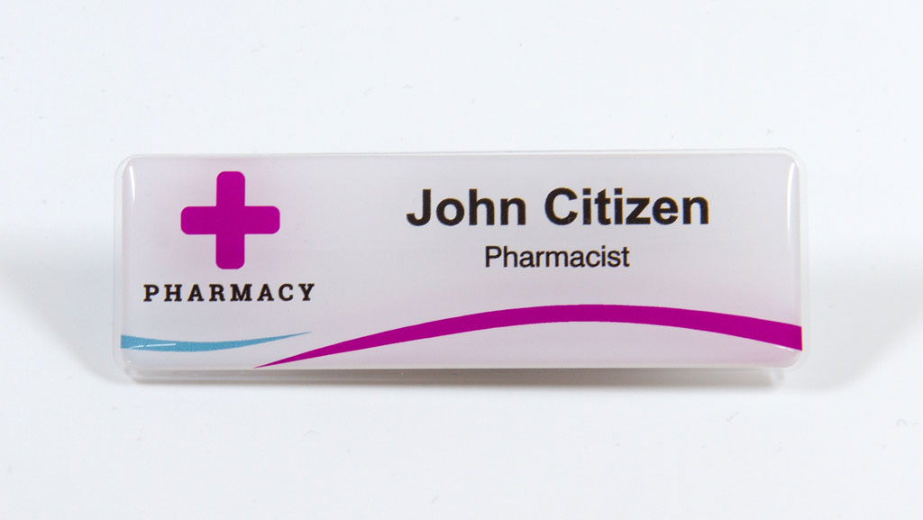 Pharmacy name tag.