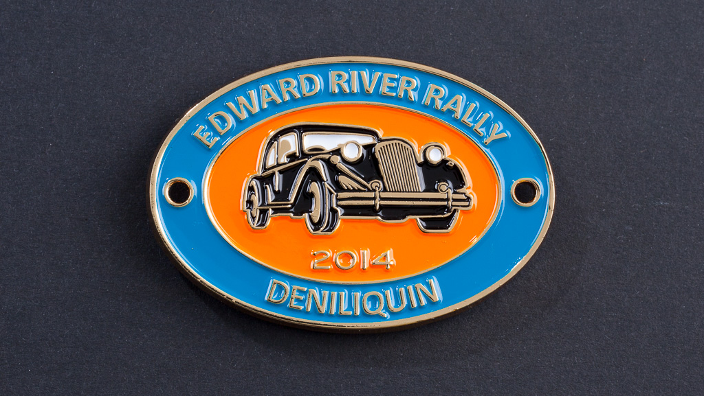 Custom manufactured car rally metal badge. Soft ename.