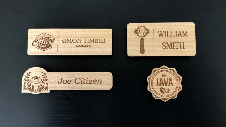 4 personalised wooden name tags