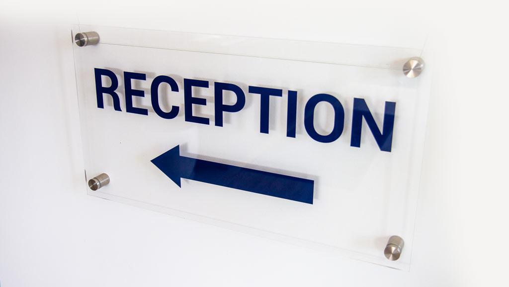 Acrylic reception sign for schools and offices.