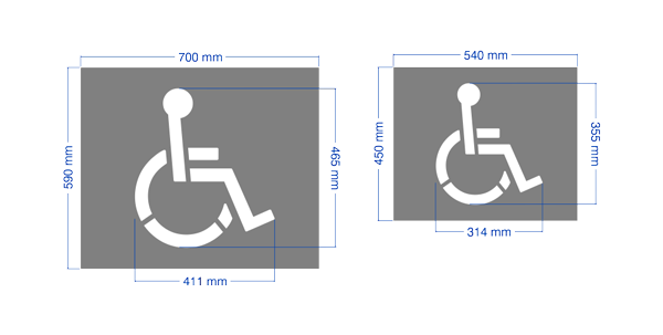 disabled wheelchair man stencil