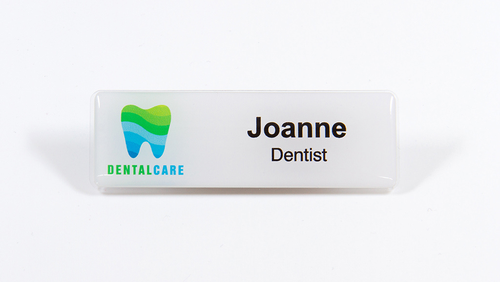 Customised dentist name tag.