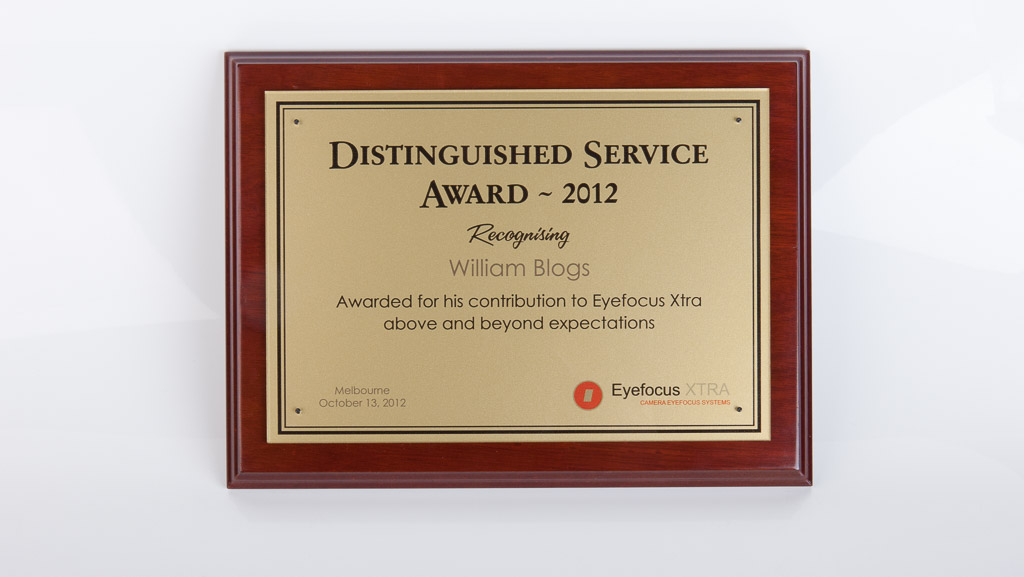 Service award plaque. Digital printed gold vinyl behind acrylic award plaque