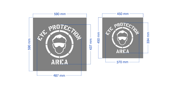"High quality made in Australia ""Eye Protection Area"" stencil."