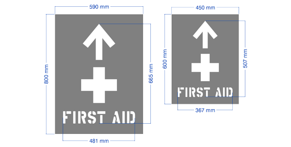 Directional first aid safety stencil for workplace OHS workplace compliance.