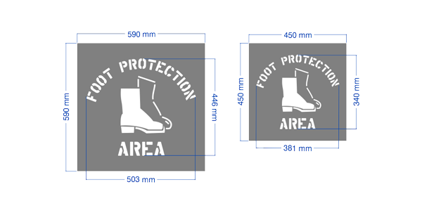 Foot protection area stencils for work safe compliance.
