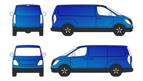 full vehicle wrap on a van blue in colour side views front view and rear view 2D drawings