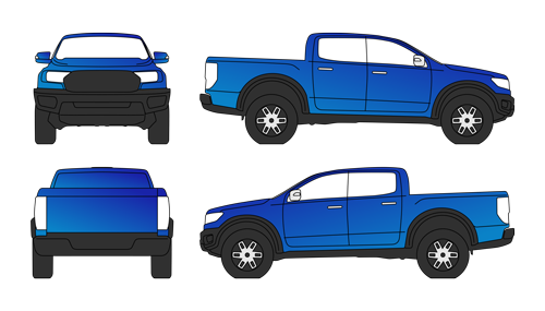 Full body wrap of SUV ute. Blue in colour with illustrations of the front, sides and rear view. Drawn in a simple line vector style.
