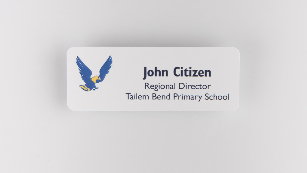 Personalised name tag primary school
