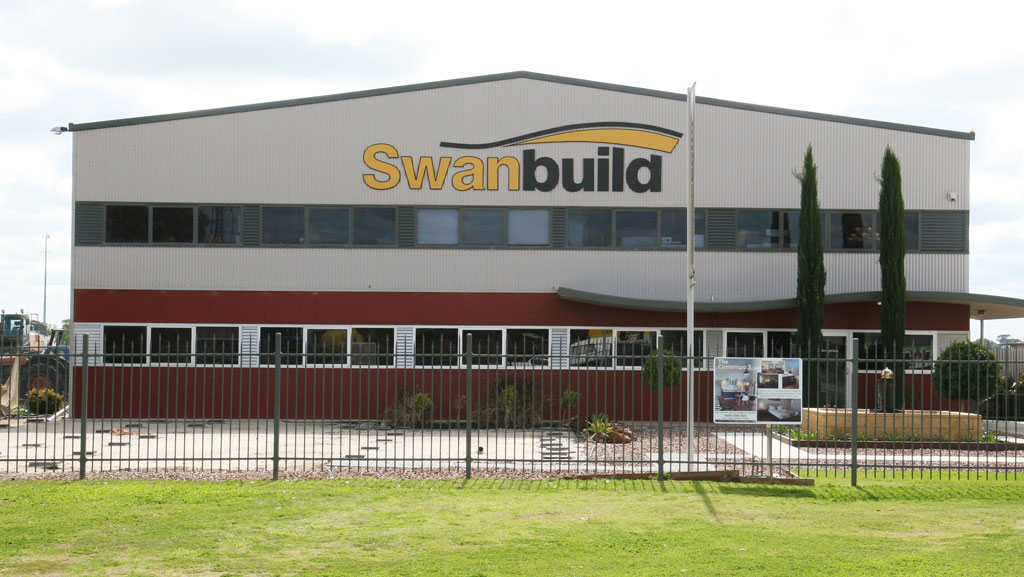 Swan Build manufacturing plant signage.