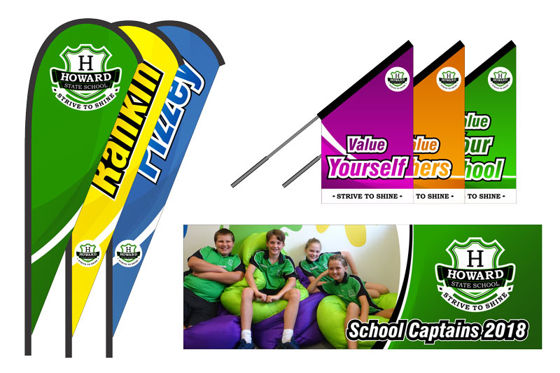 Custom branding for schools, an image of teardrop banners, flags and PVC banner.