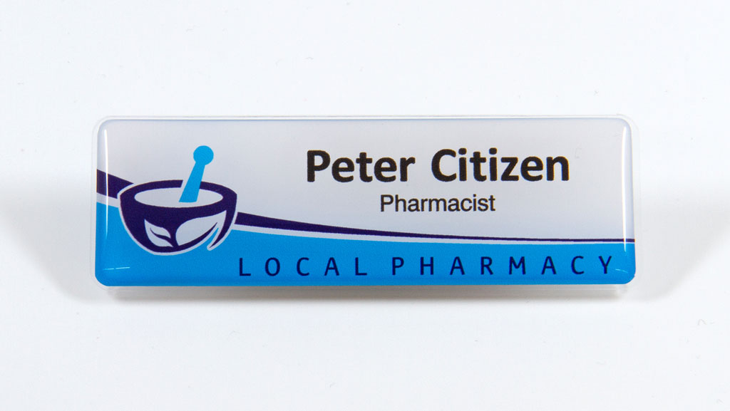 Health industry name badge.