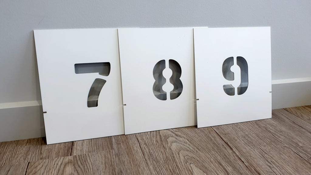 Custom made manufactured number stencils Aus.