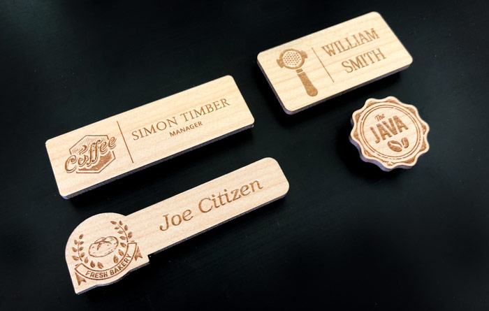 Custom shaped and standard wooden name badges manufactured in Australia.