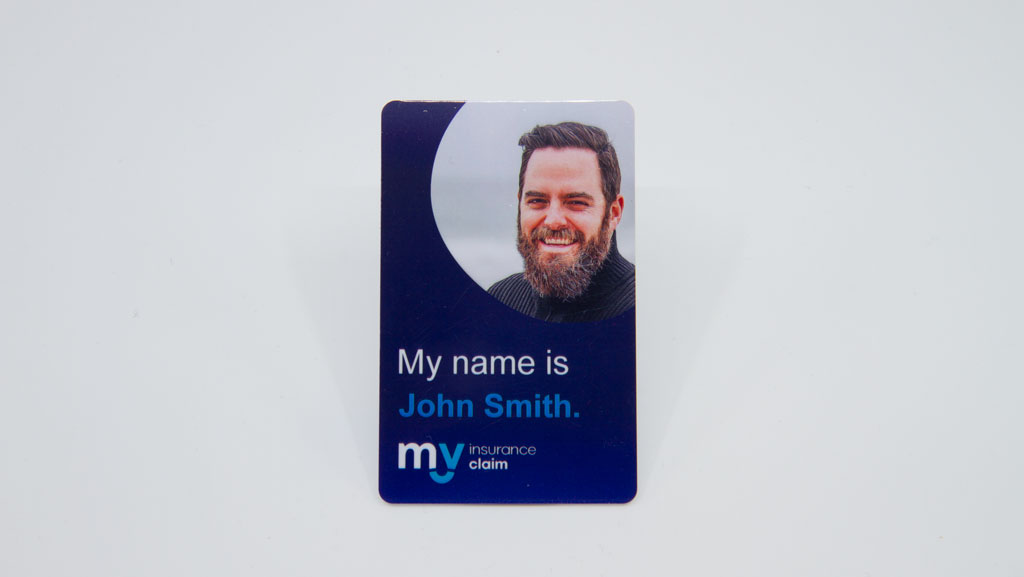 Generic name with a stock photo of bearded dude on an ID card.