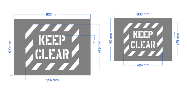 Keep Clear Stencil in large and regular size.