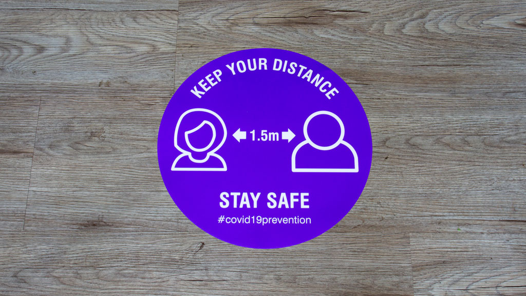 Floor sticker for keeping your distance during COVID-19 1.5m