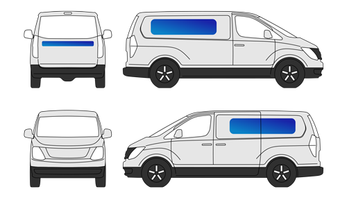 vehicle lettering for iload van illustrative icon front left right side views