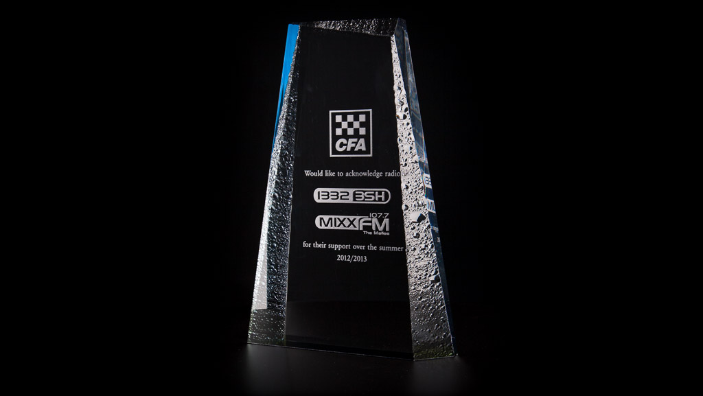 Custom laser engraved acrylic award for the CFA.