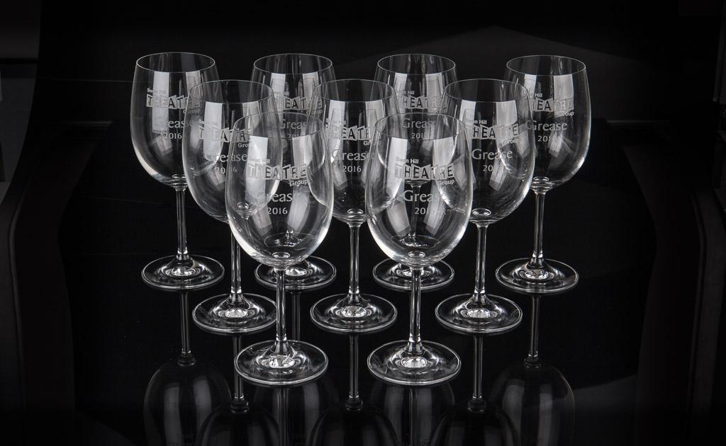 Laser engraved memorial beer glasses.