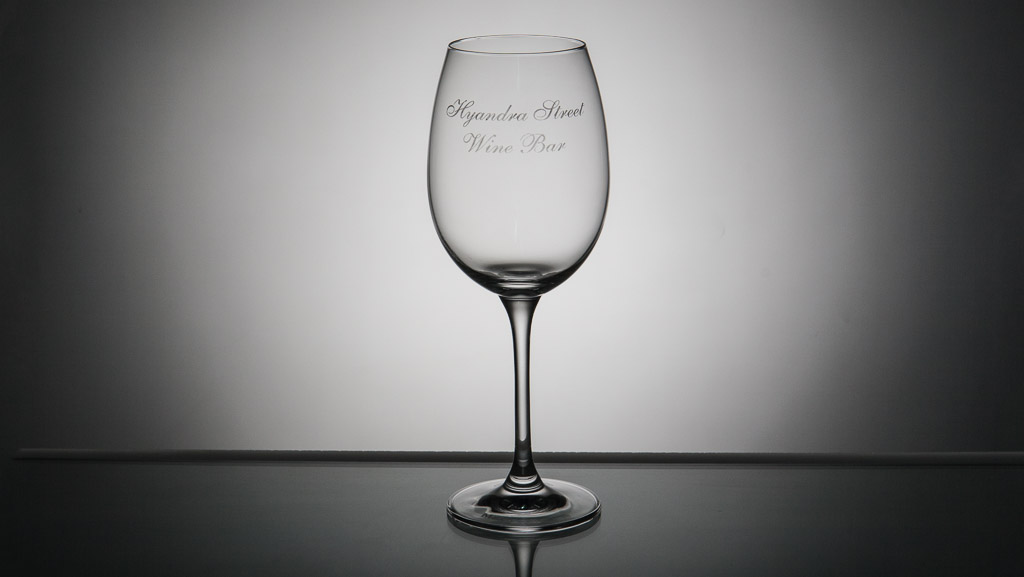Laser engraved wine glass.