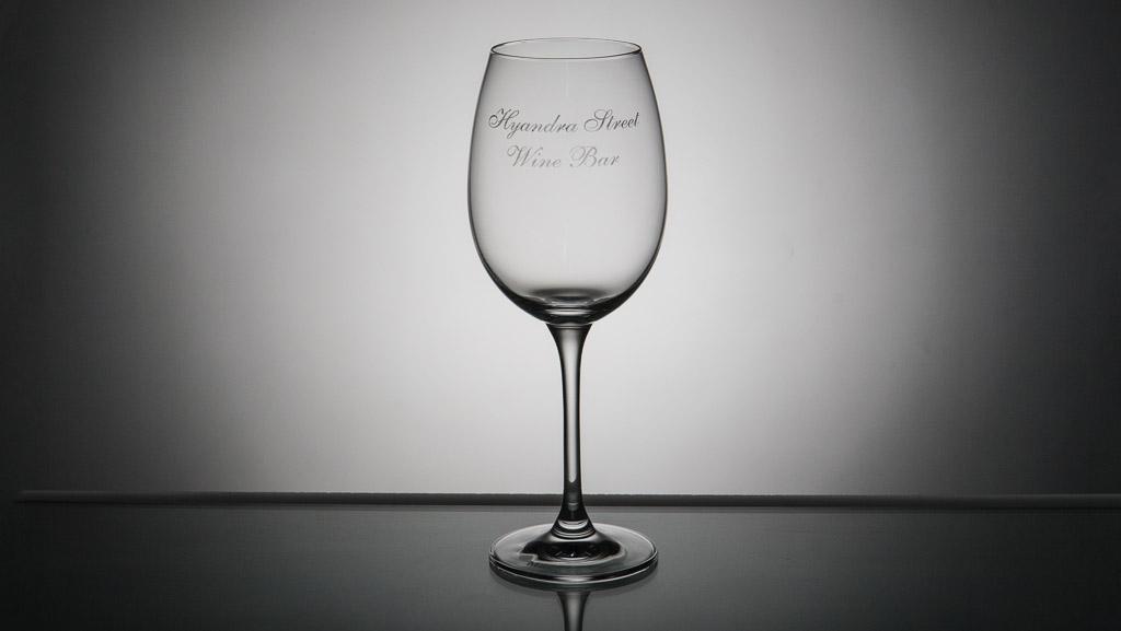 Laser engraved wine glass.