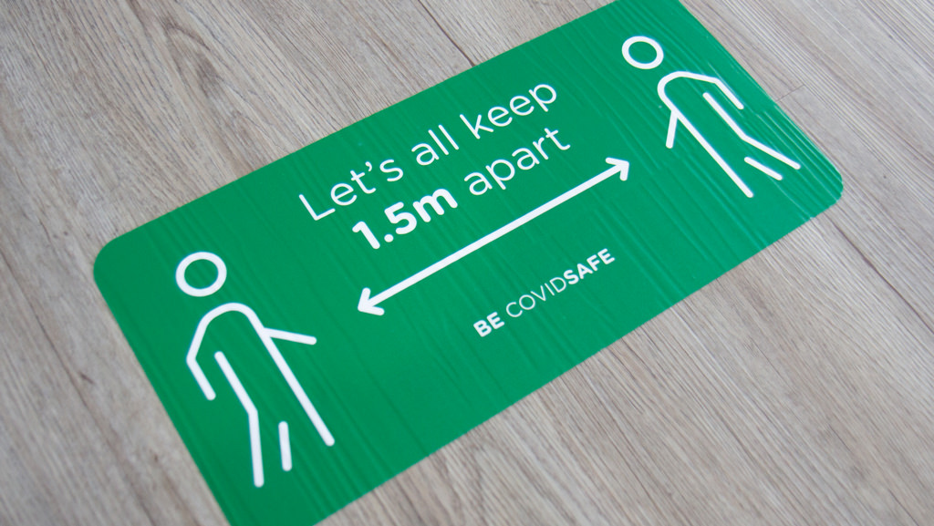 Let's all keep 1.5m apart BE COVIDSAFE floor sticker.