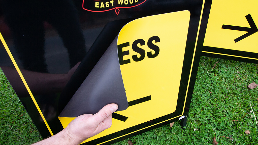 A magnetic sign for a custom A-Frame so you can change the details for your event or business.