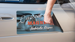Magnetic signs vehicle