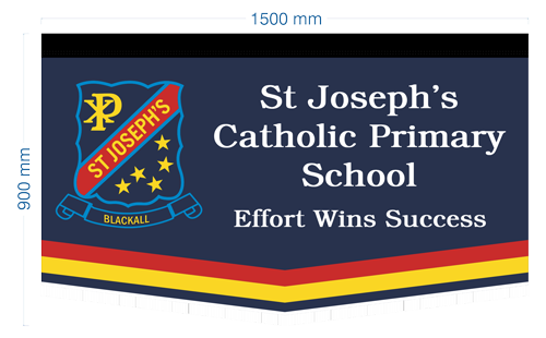 A custom made marching banner for St Joseph's Catholic Primary School