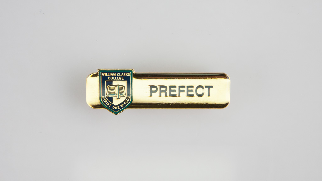 A golden coloured metal badge with a clear domed front.