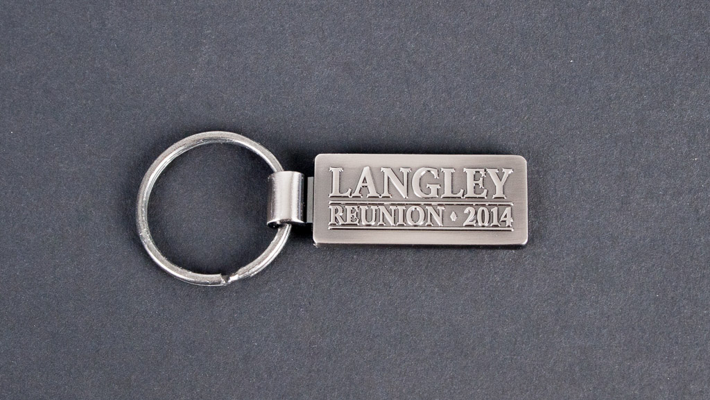 Custom key tag, metal with 3D letters.
